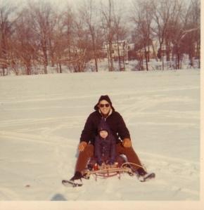 DAD AND I SLEDING  1967